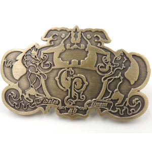 Metal Antique Silver Sheep Logo Badge with Butterfly Clasp (xd-09048) pictures & photos