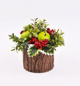 Artificial Xmas Flowers with Berry in Cement Pot for Holiday Decoration