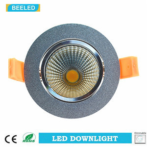 Dimmable LED COB Downlight 7W Warm White Aluminum Sand Silver