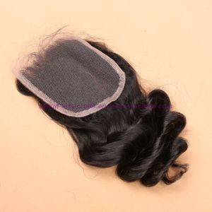 8A Indian Loose Wave Bundles with Closure 3 or 4 Bundles Virgin Hair with Lace Closure