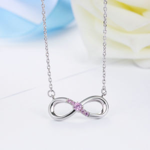 100% 925 Sterling Silver Forever Love & Pink Crystal Pendants Necklace Jewelry pictures & photos