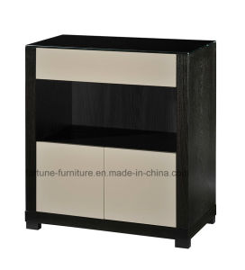 Wooden Veneer Laminated Black+High Gloss Khaki Wine Cabinet (I&D-N30511)
