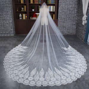 Wholesale Wedding Bridal Long Veil with Wide Applique Lace pictures & photos