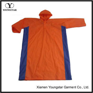Wholesale Orange Color PVC Raincoat with Hood pictures & photos