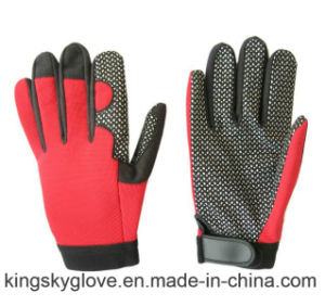 Micro Fiber Silicone Dots on Palm Mechanic Work Glove-7216 pictures & photos