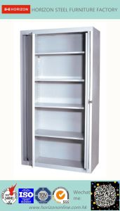 Steel Low Storage Cabinet with Two Glass Sliding Doors pictures & photos