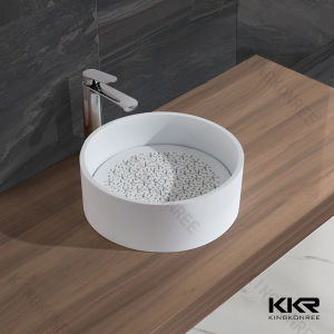 Round Corian Solid Surface Above Counter Bathroom Basin pictures & photos