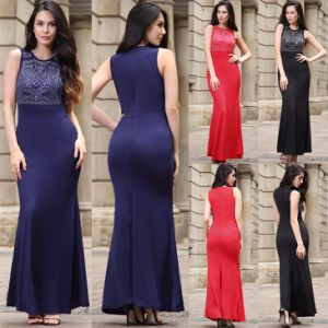 Wholesale Custom Women Rinestone Sleeveless Full Length Dress (A184)