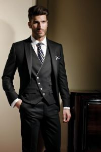 Made to Measure Men′s Slim Fit Black Suit pictures & photos