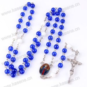 Fast Sale Blue Crystal Rosary Beads Catholic Crucifix Cross Necklace pictures & photos