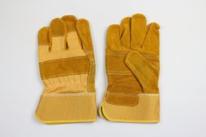Yellow Color Patch Plam Cow Split Leather Work Glove pictures & photos