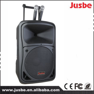 15-Inch 450W Karaoke Mobile Trolley Speakers with Two VHF Microphone pictures & photos