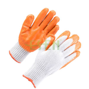 13gauge Knitted Liner Palm Latex Coated Glove Orange Latex Rubber Glove Daily Working Glove pictures & photos