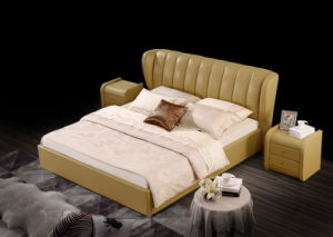 Euro Style Foshan Manufacture King Size Leather Double Soft Bed pictures & photos