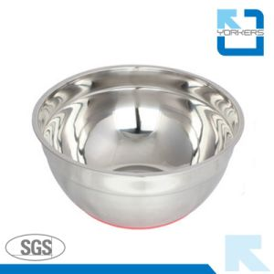 Stainless Steel Silicone Bottom Mixing Bowl Salad Bowl with Plastic Lid pictures & photos