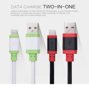 Two Color 5V 2A Noodle Flat USB Data Lightning Cable for Power Bank Charging pictures & photos