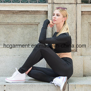 Black Running Clothing Suit for Woman, Lady Sports Wear, Yoga Clothing pictures & photos