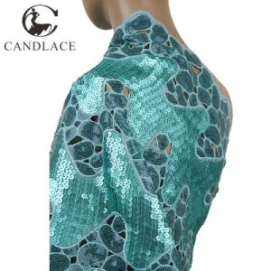 Water Green Handcut Organza Net Lace for Wedding Dress pictures & photos