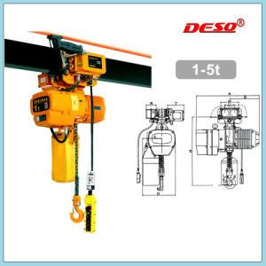 Portable Electric Chain and Wire Rope Hoist with Hook pictures & photos