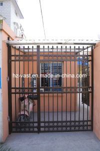Haohan High-Quality Exterior Security Decorative Wrought Iron Fence Door 17 pictures & photos