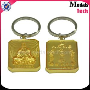 Custom Supply Alloy Casting Gold Square Engraved Buddhism Logo Keychain pictures & photos