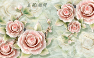 Imitative Relief Sculpture Fortune Comes with Blooming Flowers Design UV Printed on Ceramic Tile Model No.: CZ-008 pictures & photos
