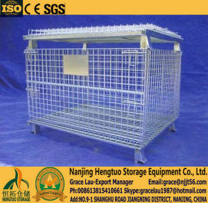Hengtuo Warehouse Storage Folding Stackable Steel Wire Mesh Container pictures & photos