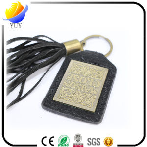Fashion and Can Be Customized Shape Leather Metal Key Chain with Tassels pictures & photos