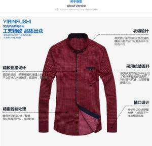 Mens Cotton Plaid Shirt of Round Neck Long Shirt pictures & photos
