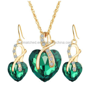 Love Heart Shape Indian Bridal Cubic Zirconia Jewelry Necklace Dubai Gold Rani Haar Jewelry Sets pictures & photos