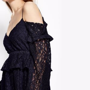 Fashion Women Sexy Slimlace V-Neck off Shoulder Ruffle Slip Dress pictures & photos