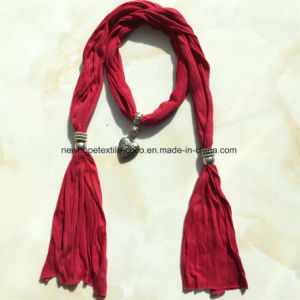 100% Polyester, Viscose Material Fashion Scarf with Metal Decoration pictures & photos