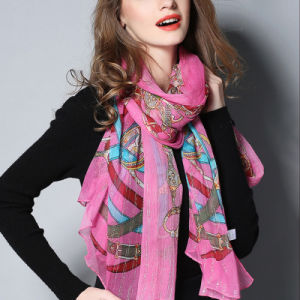 Pink Digital Printing Silk Scarves pictures & photos