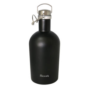 Stainless Steel Single Wall Growler Bottle Black 2.0L pictures & photos