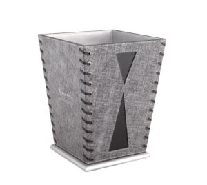 Leather Wastebasket, PU Leather Dustbin, Guestroom Trash Bin (PB004)