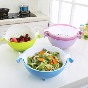 Plastic 2-in-1 Colander & Strainer Bowl Basket Washing Fruits Vegetable for Kitchen pictures & photos