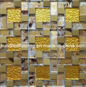 Glass Mix Stainless Steel Metal Mosaic Tile (SM230) pictures & photos