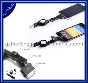 Retractable 3 in 1 USB Data Cable for iPhone5 / HTC (HL-120001)