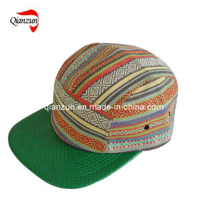 Green Leather Brim 5 Panel Leisure Caps and Hats (ZJ05-07) pictures & photos