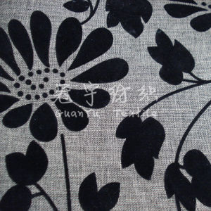 Flocking Treatment 100% Polyester Linen Fabric for Decorative Cloth pictures & photos