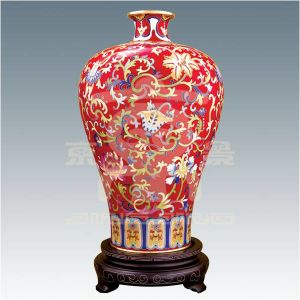Cloisonne Vase with Red Plum Blossom (01A190948)
