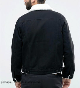 Men ′s Fall Winter New Lapel Long Sleeve Denim Warm Jacket pictures & photos
