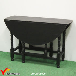 Multi Function Black Wood Round Folding Dining Table pictures & photos