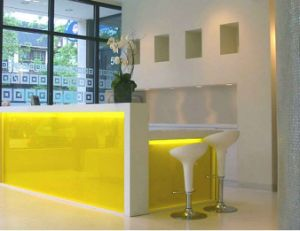 Beautiful Design Corian Artificial Marble Commercial LED Reception Counter pictures & photos
