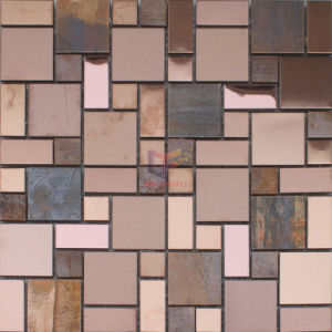 Rose Bronze Stainless Steel Mix Copper Wall Mosaic Tiles (CFM1076) pictures & photos