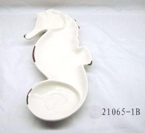 Tableware Ceramic Sea Horse Dish (HL005C21065-1B)