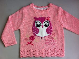 Girls Intarsia Owl Jumper with 3D Bow pictures & photos