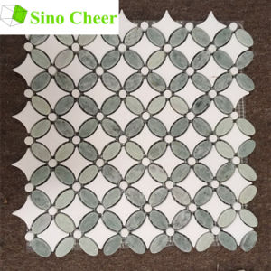 Ming Green Marble Mixed White Thassos Sunflower Pattern Marble Mosaic Tiles on Mesh pictures & photos
