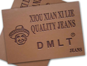 Brown Laser Custom Leather Label for Jeans pictures & photos