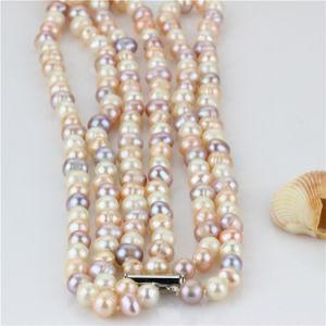 Snh 8-9mm A Grade 3 Rows Multicolor Pearl Necklace Wholesale pictures & photos